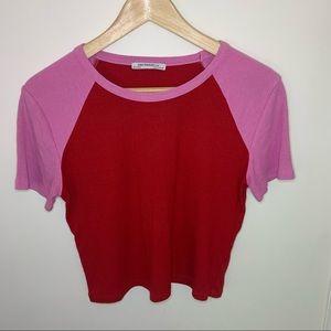 Zara // Pink Red Ribbed Crop T-shirt Large